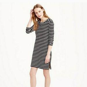 🐘 J Crew Black White Striped Zipper Dress